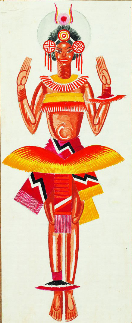 Vadym Meller, W Somerset Maugham, John Colton. Sadie Berezil Theatre, Kharkiv, Dir. V. Inkijinoff, 1926. Costume sketch, Native Woman, watercolour and paper on cardboard, 18⅛ x 7⅛ in (46 x 18 cm).