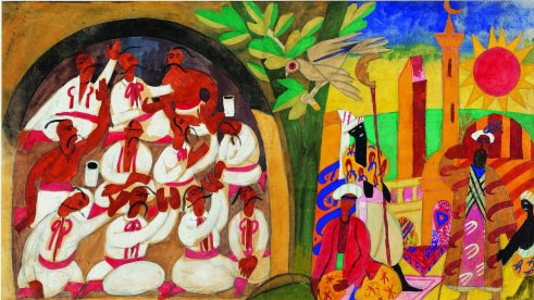 Anatol Petrytsky, Cry of the Captives, 1920. Kozelets theatre interior decor sketch, gouache on paper 15⅜ x 27 in (39 x 68.5 cm).