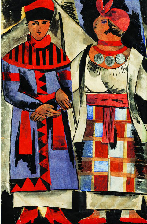 Anatol Petrytsky, Ostap Vyshnia Viі, adapted from Mykola Hohol (Nikolai Gogol), Ivan Franko Theatre, Kharkiv, Dir. H. Yura, 1925. Costume sketches, Traders, gouache, watercolour and applique on paper, 19⅝ x 14⅛ in (50 x 36 cm).