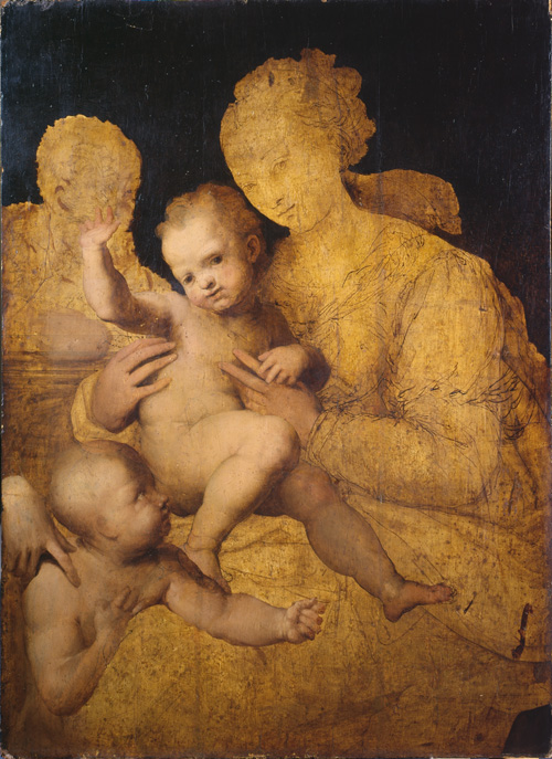 Perino del Vaga (1501-47). Holy Family with Saint John the Baptist, 1528-37, Oil on panel, 139.8 x 111.2 cm.