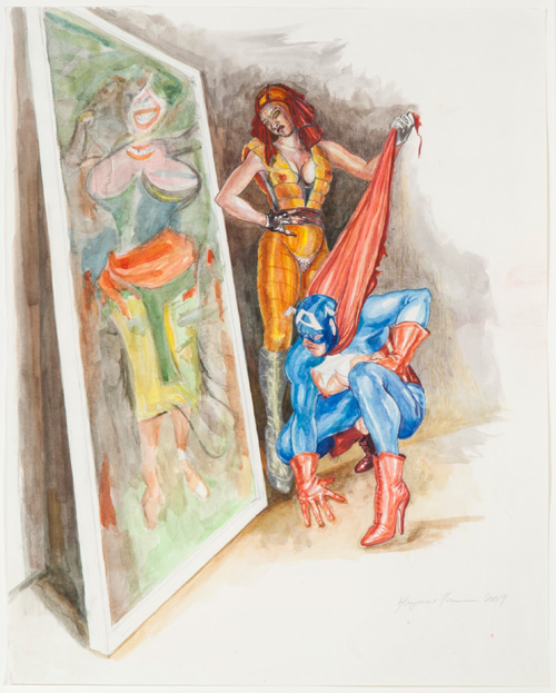 Margaret Harrison. What's That Long Red Limp Wrinkly Thing You're Pulling On?, 2009. Watercolour and coloured pencil on paper, 23 ⅞ x 18 ⅞ in. Ronald Feldman Fine Arts Inc. New York. © Margaret Harrison, photograph by Casey Dorobek.