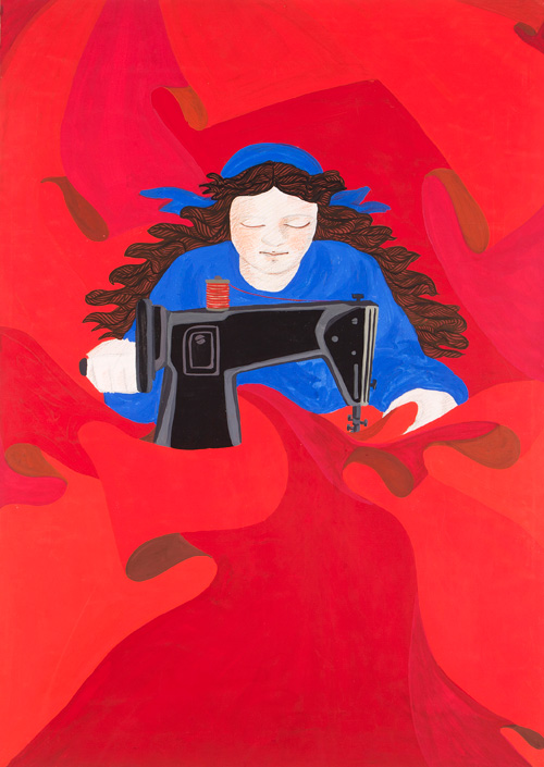 Gülsün Karamustafa. First of May (Woman Constantly Sewing Red Flags with Her Sewing Machine), 1977. Mixed media on paper, 32¼ x 24½ in. Courtesy of the artist and Rampa Gallery, Istanbul. © Gülsün Karamustafa, image provided by the artist.