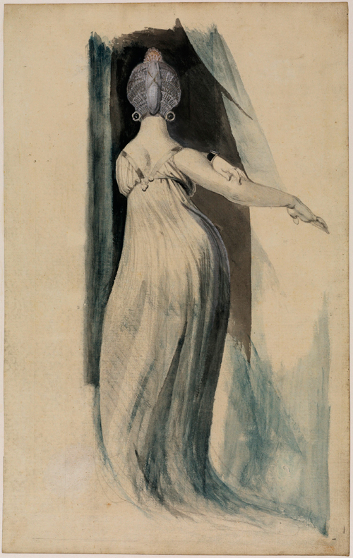 Johann Heinrich Fuseli (1741-1825). Back view of a full-length female figure, 1796-1800. Graphite and watercolour (grey, blue and grey-brown) and bodycolour and ink (Indian) on paper. The Samuel Courtauld Trust, The Courtauld Gallery, London.