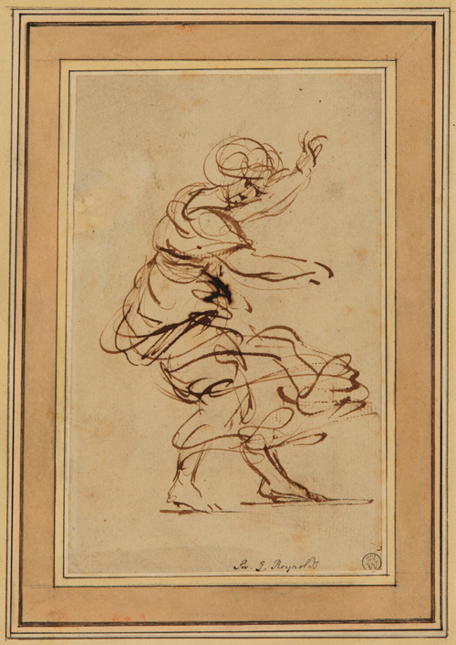 Joshua Reynolds (1723-1792). Dancing female figure. Pen and ink (brown) on paper. The Samuel Courtauld Trust, The Courtauld Gallery, London.