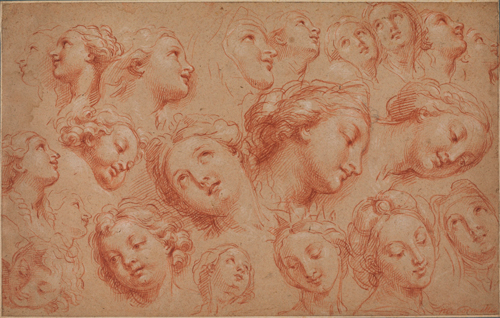 Michel, the Younger Corneille (1642-1708). Study of heads. Graphite and chalk (white, black and red) on paper. The Samuel Courtauld Trust, The Courtauld Gallery, London.