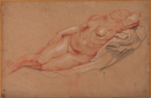 Peter Paul Rubens (1577-1640). Female nude. Chalk (red and black and white) on paper (pale brown). The Samuel Courtauld Trust, The Courtauld Gallery, London.