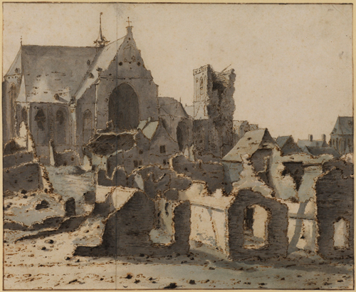 Valentijn Klotz (op.1669-1697). View of Grave on the Mass after a siege, 1675. Pen and ink (brown) and watercolour (grey) on paper 