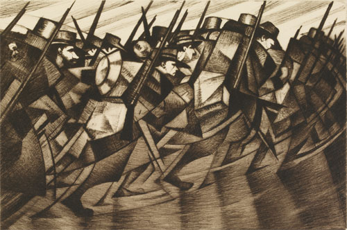 CRW Nevinson. Returning to the Trenches, 1915. Drypoint etching on paper. British Museum London.