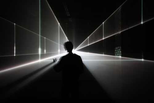 United Visual Artists: Vanishing Point. Installation view (3), 2013. RGB laser, black voile, code. Photo courtesy of the artists.