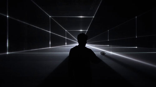 United Visual Artists: Vanishing Point. Installation view (5), 2013. RGB laser, black voile, code. Photo courtesy of the artists.
