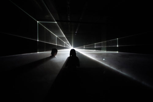 United Visual Artists: Vanishing Point. Installation view (6), 2013. RGB laser, black voile, code. Photo courtesy of the artists.
