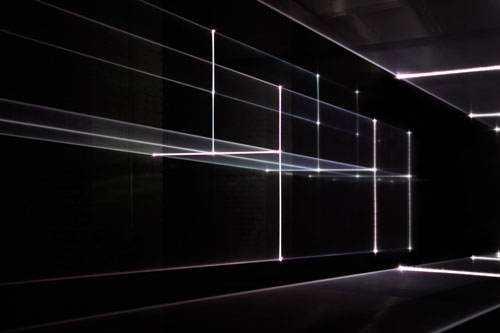 United Visual Artists: Vanishing Point. Installation view (7), 2013. RGB laser, black voile, code. Photo courtesy of the artists.