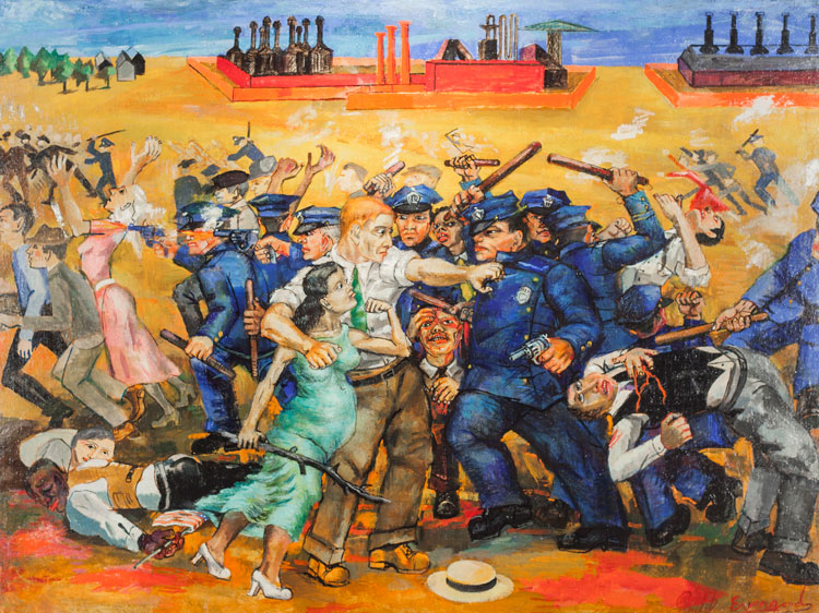 Philip Evergood, American Tragedy, 1937. Oil on canvas, 29 1/2 × 39 1/2 in (74.9 × 100.3 cm). Courtesy Harvey and Harvey-Ann Ross.