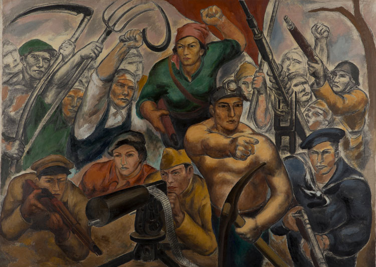 Eitarō Ishigaki, Soldiers of the People's Front (The Zero Hour), c1936–37. Oil on canvas, 58 1/2 × 81 1/2 in (148.6 × 207 cm). Museum of Modern Art, Wakayama, Japan. Reproduced with permission.