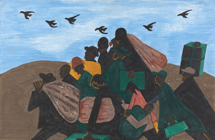 Jacob Lawrence. Panel 3 from The Migration Series, From every Southern town migrants left by the hundreds to travel north.,1940–41. Casein tempera on hardboard, 12 × 18 in (30.5 × 45.7 cm). The Phillips Collection, Washington, DC; acquired 1942. © 2019 The Jacob and Gwendolyn Knight Lawrence Foundation, Seattle / Artists Rights Society (ARS), New York.