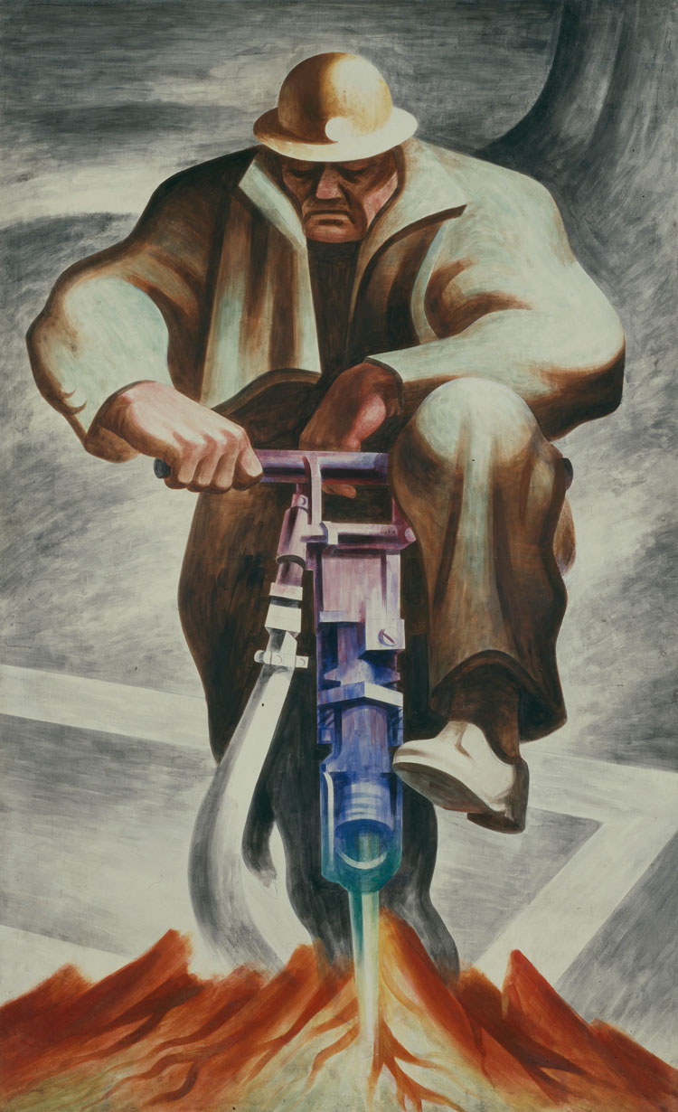 Harold Lehman, The Driller (mural, Rikers Island, New York), 1937. Tempera on fiberboard, 92 1/8 × 57 1/8 in (233.9 × 145 cm). Smithsonian American Art Museum, Washington, DC; transfer from the Newark Museum 1966.31.11. © Estate of Harold Lehman. Image: Smithsonian American Art Museum, Washington, DC / Art Resource, NY.