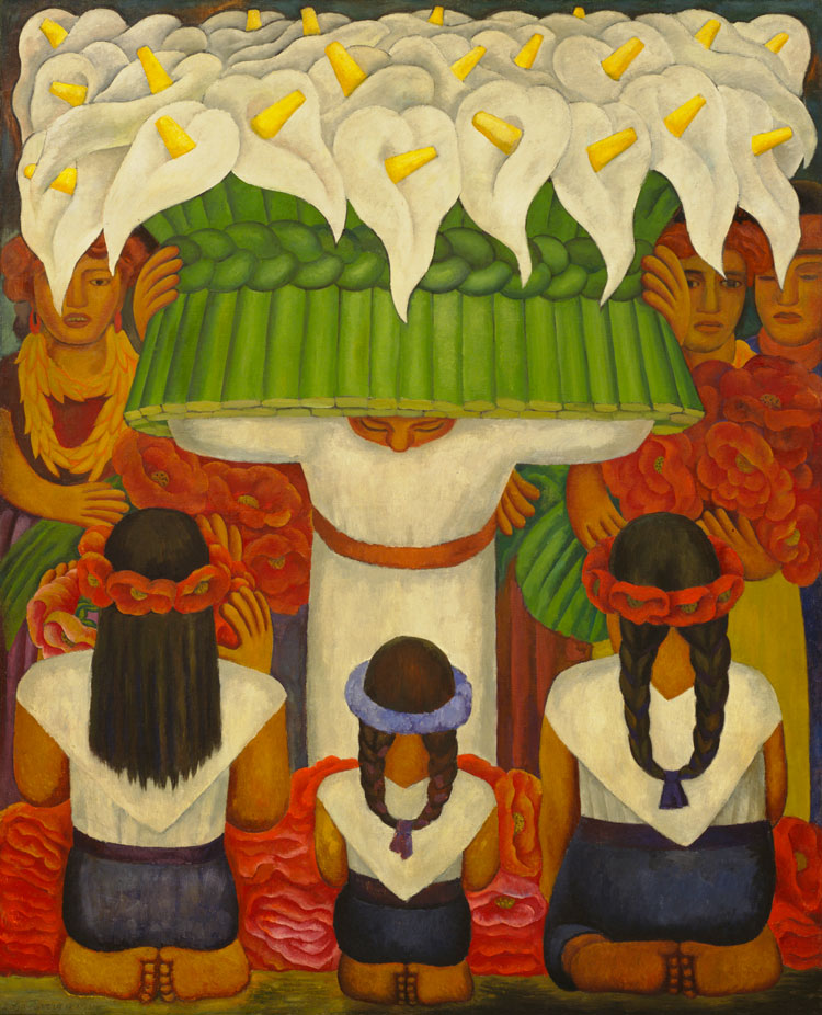Diego Rivera, Flower Festival: Feast of Santa Anita, 1931. Encaustic on canvas, 78 1/2 × 64 in (199.3 × 162.5 cm). The Museum of Modern Art, New York; gift of Abby Aldrich Rockefeller, 1936. © 2020 Banco de México Diego Rivera Frida Kahlo Museums Trust, Mexico, D.F. / Artists Rights Society (ARS), New York. Image © The Museum of Modern Art/Licensed by SCALA / Art Resource, New York.