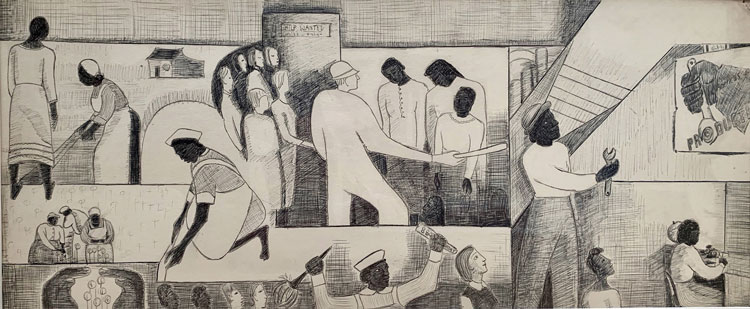 Thelma Johnson Streat, The Negro in Professional Life—Mural Study Featuring Women in the Workplace, 1944. Ink and graphite on paper, 12 1/2 × 30 in. (31.8 × 76.2 cm). Collection of Bernard Friedman.