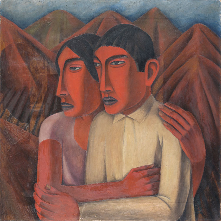 Rufino Tamayo, Man and Woman, 1926. Oil on canvas, 30 × 29 7/8 in (76.2 × 75.9 cm). Philadelphia Museum of Art; gift of Mr. and Mrs. James P. Magill, 1957. © 2020 Tamayo Heirs / Mexico / Artists Rights Society (ARS), New York.