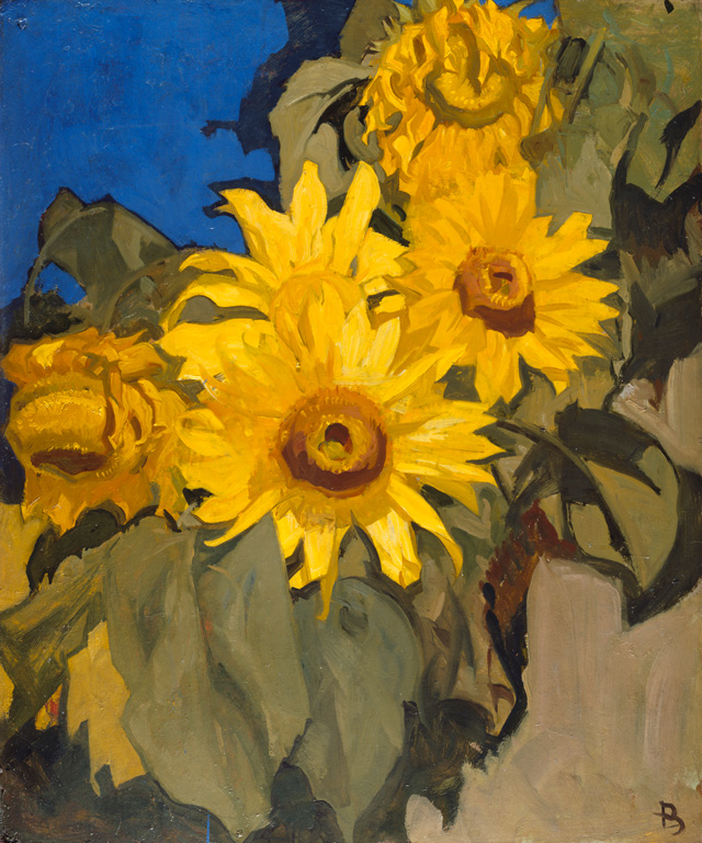 Frank Brangwyn. Sunflowers, early 20th century. Oil paint on board, 75.5 x 63.2 cm. Lent by the Royal Academy of Arts, London © The Estate of Frank Brangwyn / Bridgeman Images.