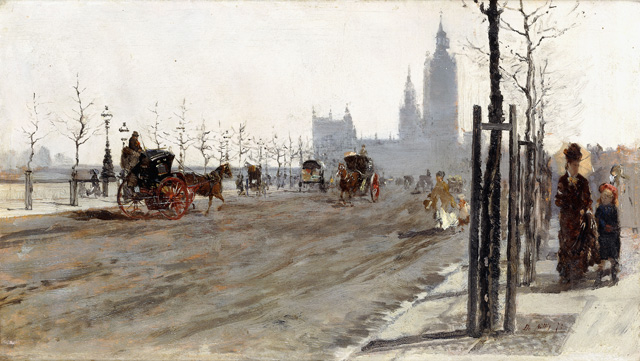 Giuseppe de Nittis. The Victoria Embankment, London, 1875. Oil paint on panel, 18.4 x 31.7 cm. Private collection.