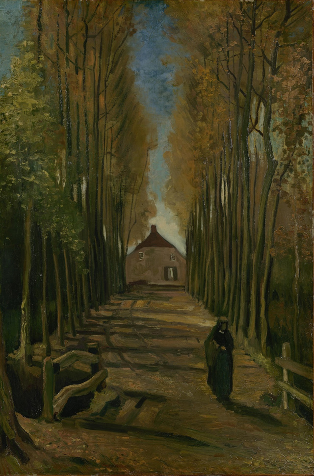 Vincent van Gogh, Avenue of Poplars in Autumn, 1884. Oil on canvas on panel, 99 x 65.7 cm. Van Gogh Museum, Amsterdam (Vincent van Gogh Foundation).