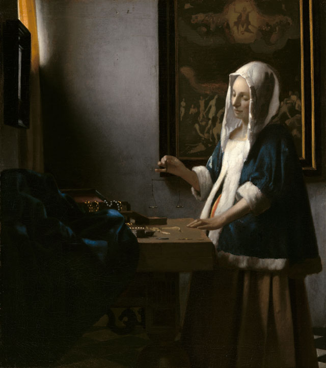 Johannes Vermeer. Woman Holding a Balance, c1664. Oil on canvas, 39.7 x 35.5 cm (15 5/8 x 14 in). National Gallery of Art, Washington, Widener Collection.