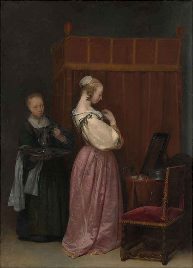 Gerard ter Borch. Young Woman at her Toilet with a Maid, c1650-51. Oil on wood, 47.6 x 34.6 cm (18 3/4 x 13 5/8 in). Lent by The Metropolitan Museum of Art, Gift of J. Pierpont Morgan, 1917 (17.190.10).