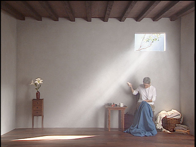 Bill Viola. Catherine's Room, 2001. Colour video polyptych on five LCD flat panel displays mounted on wall, 15 x 97 x 2 1/4 in (38 x 246 x 5.7 cm), 18:39 minutes. Performer: Weba Garretson.