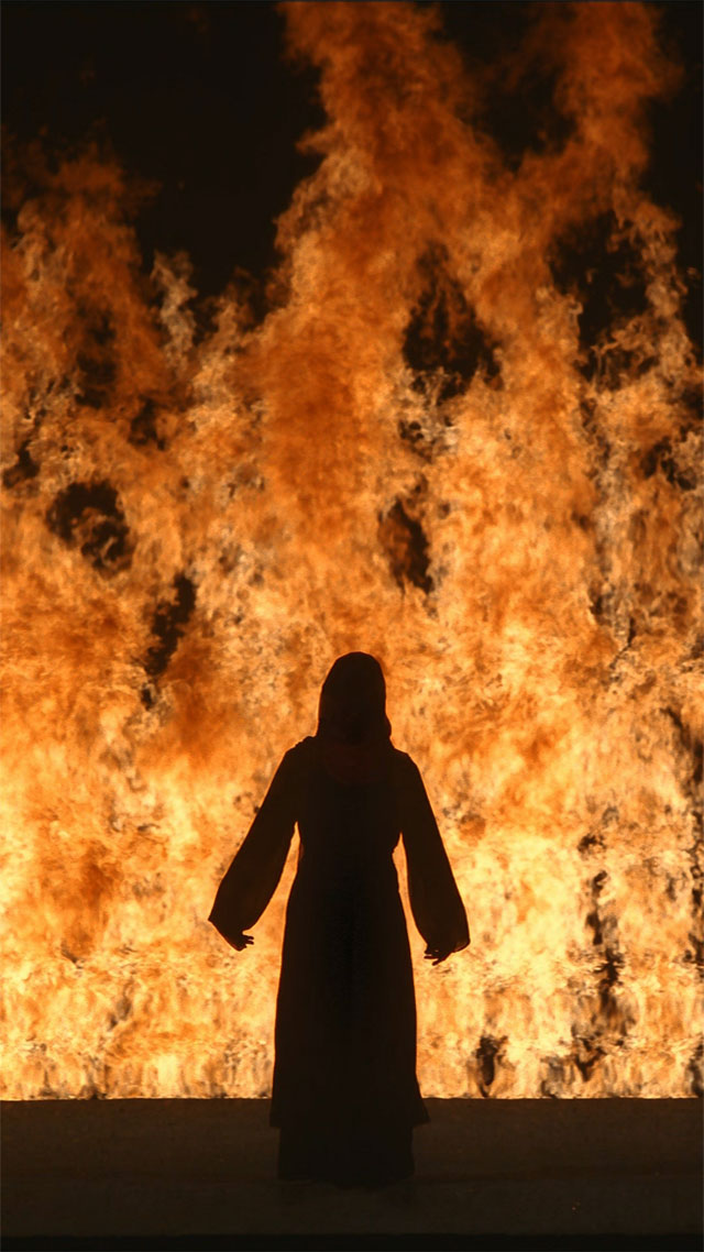 Bill Viola. Fire Woman, 2005. Video/sound installation. Colour high-definition video projection; four channels of sound with subwoofer (4.1), projected image size: 19 ft x 10 ft 8 in (5.8 x 3.25 m), 11:12 minutes. Performer: Robin Bonaccorsi.