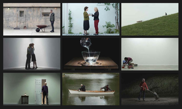 Bill Viola. Chapel of Frustrated Actions and Futile Gestures, 2013. Video/sound Installation. Nine channels of colour high-definition video on a 3 x 3 grid of flat panel displays; nine channels mono sound, 72 x 120 1/2 x 3 1/2 in (183 x 306 x 9 cm). Continuously running. Performers: Tomas Arceo, John Brunold, Cathy Chang, John Fleck, Joanne Lindquist, Tim Ottman, Kira Perov, Valerie Spencer, Ivan Villa, Bill Viola, Blake Viola.