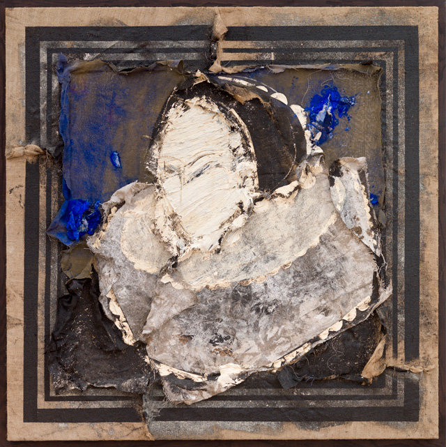 Manolo Valdés. Dama, 2016. Oil on burlap, 65 x 65 in. Copyright Manolo Valdés, courtesy Marlborough Fine Art, London.