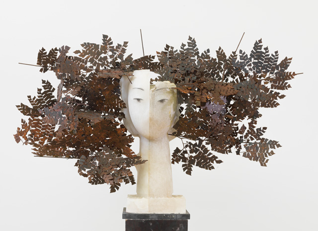 Manolo Valdés. Ferns III, 2016. Alabaster and iron, 28 x 42 x 8 in. Copyright Manolo Valdés, courtesy Marlborough Fine Art, London.