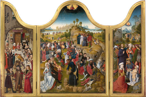 Master of the Legend of Saint Catherine (c. panel), Master of the Princely Portraits (l. wing), A. van den Bossche (r. wing). Triptych of the Miracles of Christ, between 1491-1495. © Melbourne, National Gallery of Victoria.