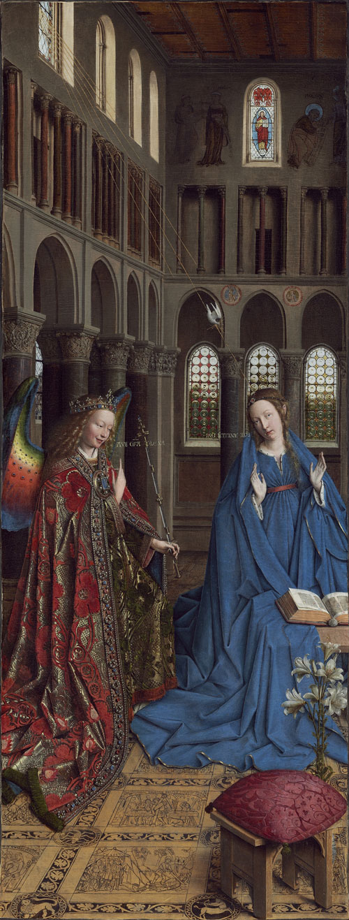 Jan van Eyck. The Annunciation, c1430-35. Oak, transferred on to canvas in St Petersburg after 1864, 92.7 x 36.7 cm. Washington DC, National Gallery of Art, Andrew W. Mellon Collection.