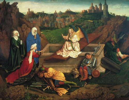 Jan van Eyck. The Three Marys at the Tomb, c1430-35. Panel, 71.5 x 90 cm. Rotterdam, Museum Boijmans, Van Beuningen.