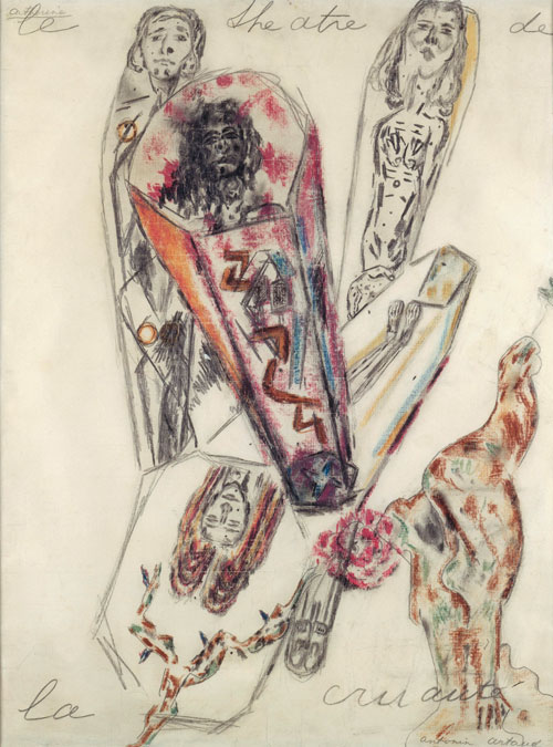 Antonin Artaud. The Theatre of Cruelty, March 1946. 62.5 x 47.5 cm. Paris, Centre Pompidou, Musée national d'Art Moderne/Centre de création industrielle legs de Mme Paule Thévenin, 1994. © Centre Pompidou, MNAM-CCI, Dist. RMN-Grand Palais/Jacques Faujour. © ADAGP, Paris 2014.