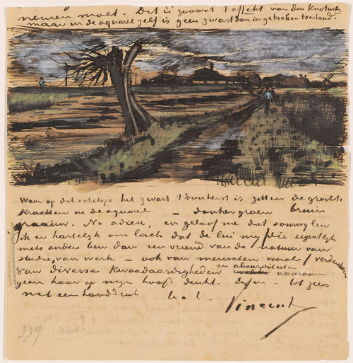 Vincent van Gogh. Letter 252 from Vincent van Gogh to Theo van Gogh: Pollard Willow, c. 1 Aug 1882. Letter, 13.8 x 13.4 cm. Van Gogh Museum, Amsterdam (Vincent van Gogh Foundation).