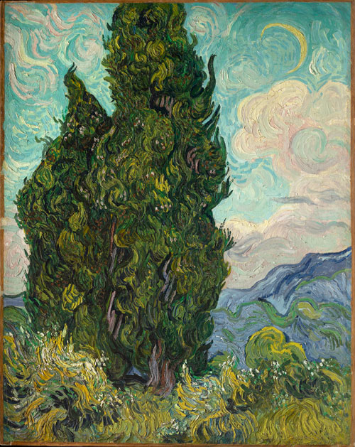 Vincent van Gogh. <em>Cypresses, </em>June 1889. Oil on canvas, 93.3 x 74 cm. Metropolitan Museum of Art, Rogers Fund, 1949 (49.30). Photo Copyright The Metropolitan Museum of Art.