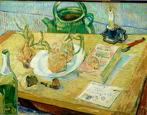 Vincent van Gogh. <em>Still-life around a Plate of Onions,</em> early January 1889. Oil on canvas, 49.6 x 64.4 cm. Kroller-Muller Museum, Otterlo, The Netherlands.