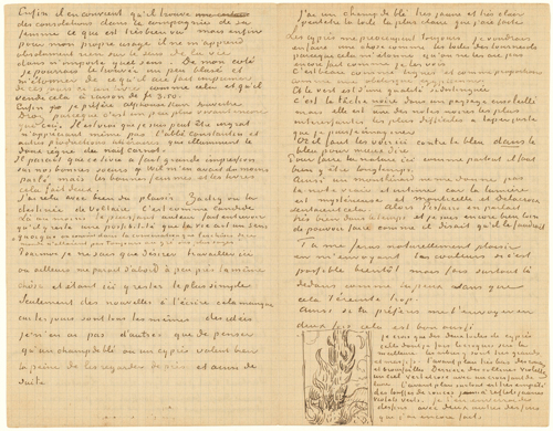 Vincent van Gogh. <em>Letter with Sketch: Cypresses</em>, 25 June 1889. Letter, 21 x 27cm. Van Gogh Museum, Amsterdam (Vincent van Gogh Foundation).