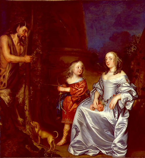John Hayls.<em> Portrait of a Lady and a Boy, with Pan, 1655-9</em>. BEFORE CLEANING.