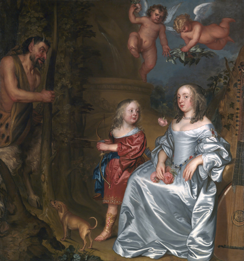 John Hayls.<em> Portrait of a Lady and a Boy, with Pan, 1655-9</em>. AFTER CLEANING.