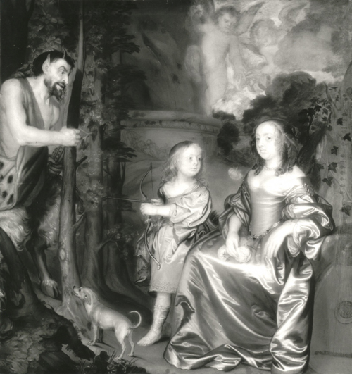 John Hayls.<em> Portrait of a Lady and a Boy, with Pan, 1655-9</em>. INFRARED PHOTOGRAPH.