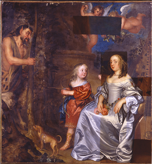 John Hayls.<em> Portrait of a Lady and a Boy, with Pan, 1655-9</em>. DURING CLEANING.