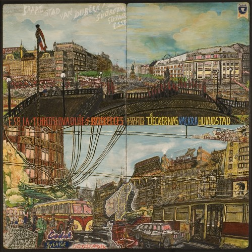 Willem van Genk. Untitled (Praha, Stad van Dubček or Prague, City of Dubček), c1970. Mixed media on assembled millboards, 48 x 48 in (122 x 122 cm). Collection Foundation Willem van Genk, Museum Dr. Guislain, Ghent. Photograph: Guido Suykens, Ghent.