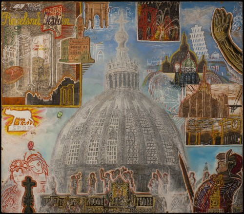 Willem van Genk. Untitled (Reiseland Italien or Travel in Italy), 1964. Mixed media on millboard. 27 ¾ x 31 ½ x 1 ½ in (70.5 x 80 x 3.5 cm). Collection Foundation Willem van Genk, Museum Dr. Guislain, Ghent, 210302174. Photo: Guido Suykens, Ghent.