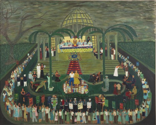 Ralph Fasanella. McCarthy Era Garden Party, 1954. Oil on canvas, 40 x 50 in. Andrew Edlin Gallery, New York, and the Estate of Ralph Fasanella.