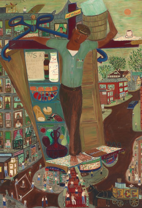 Ralph Fasanella. Iceman Crucified #4. 1958. Oil on canvas, 36 x 25 in. Smithsonian American Art Museum, Gift of the estate of Ralph Fasanella.