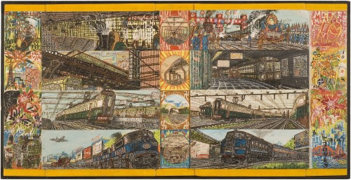 Willem van Genk. Untitled (Great Railroads of the World), c1970. Mixed media on assembled millboards, 26 ¾ x 52 ½ in (68 x 133 cm). Collection De Stadshof, Museum Dr. Guislain, Ghent. Photograph: Guido Suykens, Ghent.